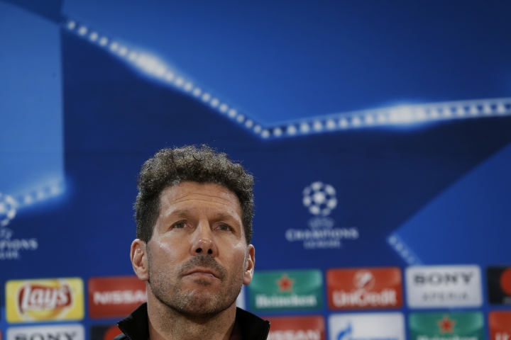 Atletico Madrid head coach Diego Simeone listens to a question during a news conference at the Vicente Calderon stadium in Madrid, Tuesday, March 14, 2017. Atletico Madrid will play a Champions League round of 16 second leg soccer match against Bayer Leverkusen on Wednesday 15. (AP Photo/Francisco Seco)