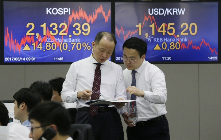 Currency traders work at the foreign exchange dealing room of the KEB Hana Bank headquarters in Seoul, South Korea, Tuesday, March 14, 2017. Asian stock markets drifted in slow trading on Tuesday as investors awaited the outcome of the Federal Reserve's meeting and a batch of economic and political events later this week. (AP Photo/Ahn Young-joon)