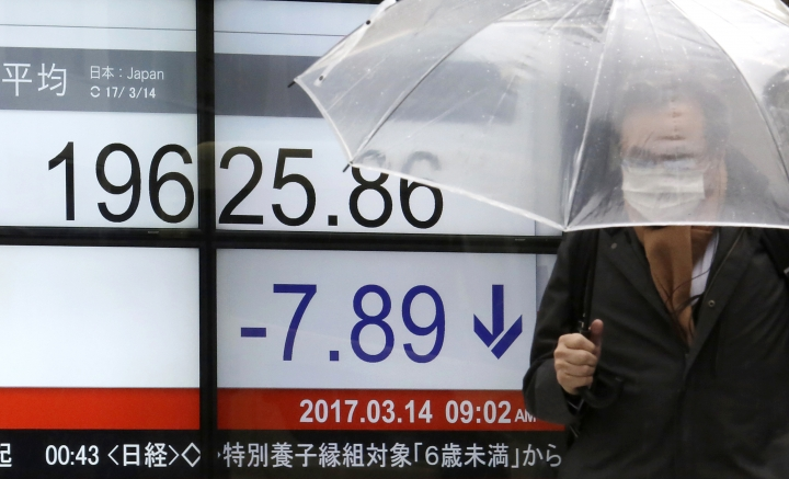 A man walks past an electronic stock board showing Japan's Nikkei 225 index at a securities firm in Tokyo, Tuesday, March 14, 2017. Asian stock markets drifted in slow trading on Tuesday as investors awaited the outcome of the Federal Reserve's meeting and a batch of economic and political events later this week. (AP Photo/Eugene Hoshiko)