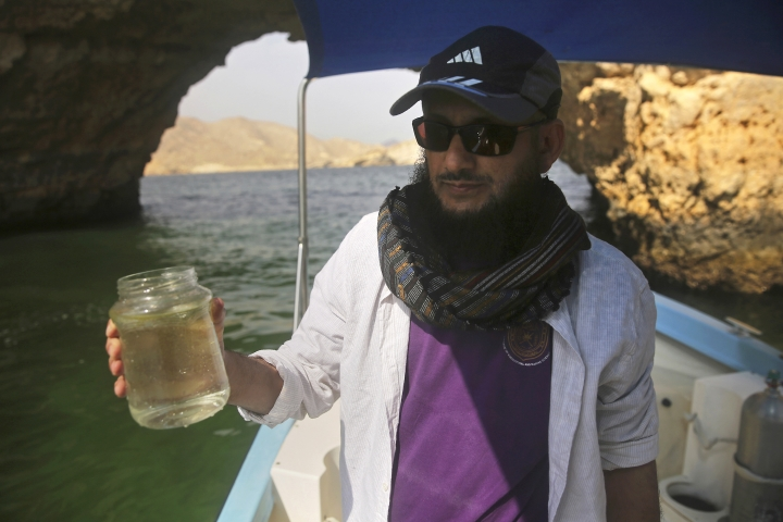 """In this Feb. 26, 2017 photo, marine biologist Khalid al-Hashmi, 50, holds a jar with a sample of an algae blooming in the Gulf of Oman. Al-Hashmi, a marine biologist at the Sultan Qaboos University in Oman, wrinkles his nose as the research vessel nears the bloom. """"Sea stench,"""" he says, referring to the algae's ammonia secretions. """"It's here, you can smell it."""" (AP Photo/Sam McNeil)"""