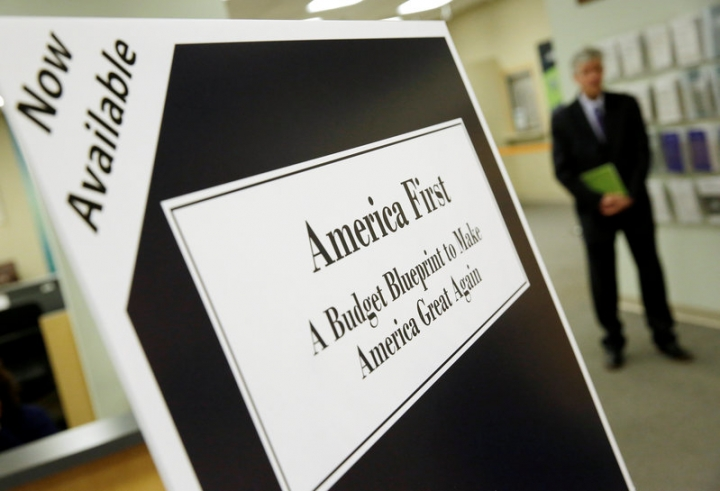 U.S. President Donald Trump's overview of the budget priorities for Fiscal Year 2018 are displayed at the U.S. Government Publishing Office (GPO) on its release by the Office of Management and Budget (OMB) in Washington, U.S. March 16, 2017.      REUTERS/Joshua Roberts