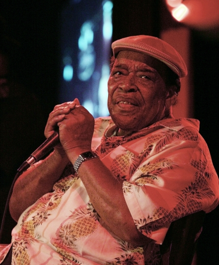 FILE - In this Aug. 17, 2005 file photo, legendary blues man James Cotton performs at the B.B. King Blues Club in New York City. Cotton, a Grammy Award-winning blues harmonica master whose full-throated sound backed such blues legends as Muddy Waters, Sonny Boy Williamson II and Howlin' Wolf, has died at age 81. A statement from Alligator Records, Cotton's label, says he died Thursday, March 16, 2017, of pneumonia at St. David's Medical Center in Austin. (AP Photo/Jeff Christensen)