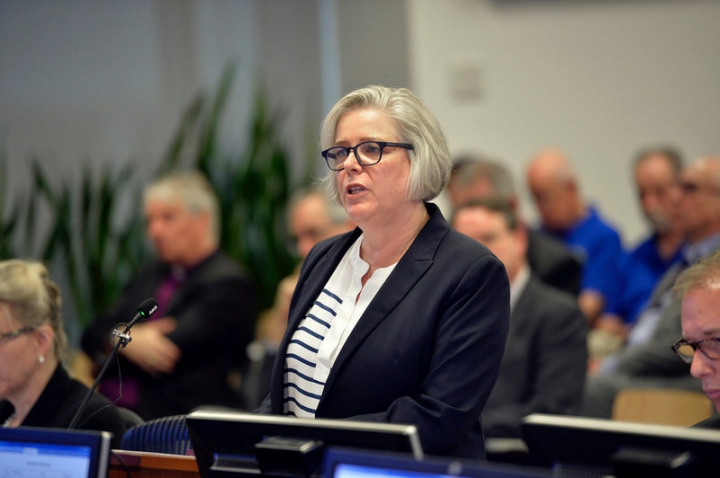 Anne Hywood, the General Secretary of the Anglican Church of Australia addresses the Royal Commission into Institutional Responses to Child Sexual Abuse public hearing into the Anglican Church of Australia (Case Study 52) in Sydney, Australia, March, 17 2017. Royal Commission into Institutional Responses to Child Sexual Abuse/Jeremy Piper/Handout via REUTERS