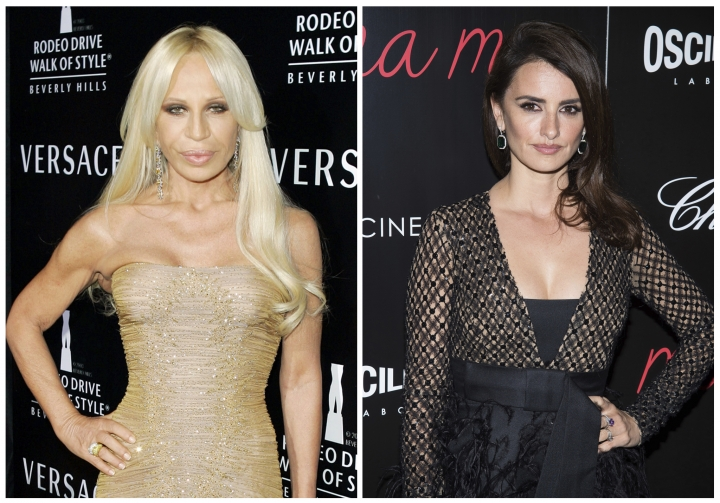 """In this combination photo, fashion designer Donatella Versace, left, attends an event honoring her with the Rodeo Drive Walk of Style Award on Feb. 8, 2007, in Beverly Hills, Calif., and Penelope Cruz attends a special screening of """"ma ma"""", on May 24, 2016, in New York. Cruz is headed to television to play Versace in the third installment of """"American Crime Story"""" on FX. The Academy Award winning actress will star in the 10-episode series focused on the 1997 slaying of Versace's brother, Gianni. Donatella Versace took over the famed fashion house after her brother was killed. (AP Photos/Mark J. Terrill, left, and Charles Sykes, Files)"""