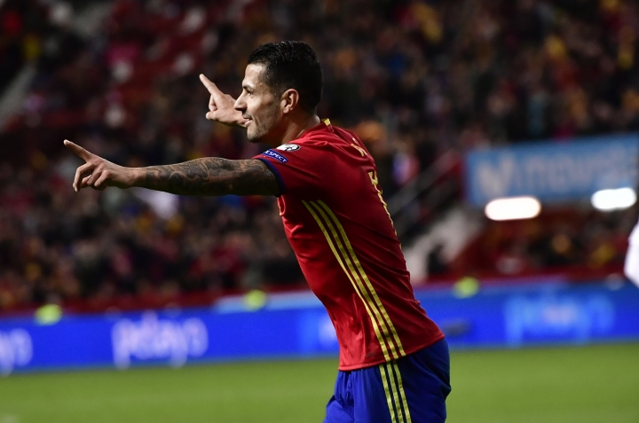 Spain's Vitolo, celebrates his goal after scoring against Israel during a 2018 World Cup Group G qualifying soccer match between Spain and Israel, at El Molinon Stadium, in Gijon, northern Spain, Friday, March 24, 2017. (AP Photo/Alvaro Barrientos)