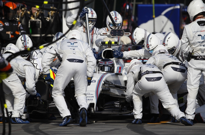 Williams driver Lance Stroll of Canada has a tire change during the Australian Formula One Grand Prix in Melbourne, Sunday, March 26, 2017. (Brandon Malone/Pool Photo via AP)