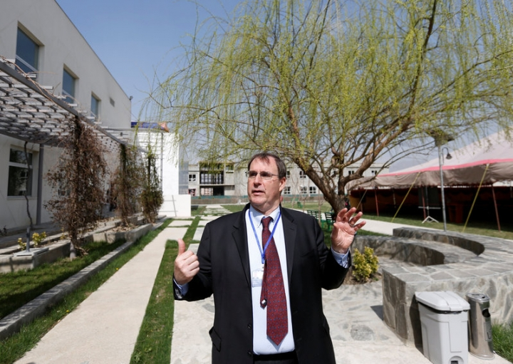 David Sedney, acting president of American University of Afghanistan speaks during an interview at a American University in Kabul.    REUTERS/Mohammad Ismail