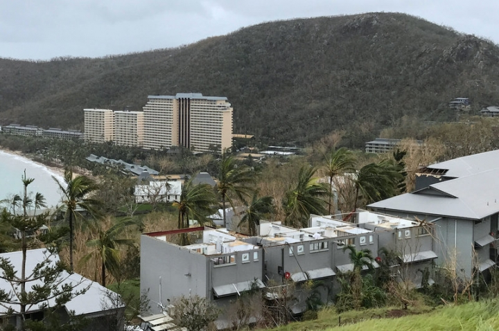 Damaged buildings can be seen after Cyclone Debbie hit the resort on Hamilton Island, located off the east coast of Queensland in Australia March 29, 2017.   Jon Clements/Handout via REUTERS