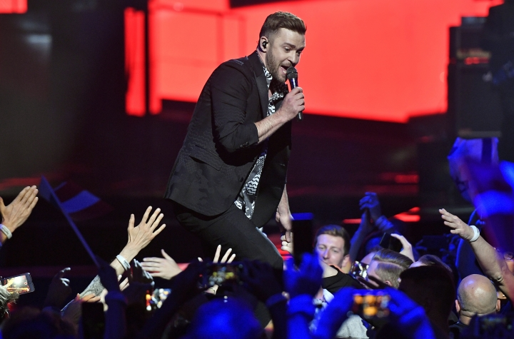 FILE - Int his May 14, 2016, file photo, singer Justin Timberlake performs during the Eurovision Song Contest final in Stockholm, Sweden. Timberlake is scheduled to perform on Oct. 21, 2017, at the Circuit of the Americas in Austin, Texas, during Formula One's only stop in the U.S., organizers of the U.S. Grand Prix announced Wednesday, March 29, 2017. (AP Photo/Martin Meissner, File)