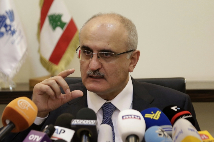 Lebanese Finance Minister Ali Hassan Khalil speaks during a press conference in Beirut, Lebanon, Thursday, March 30, 2017. Khalil says the country's first budget in 12 years will have a deficit of $4.85 billion on spending of $15.78 billion. Khalil told reporters on Monday that the country's economic growth in 2017 is expected to be 2 percent.(AP Photo/Hassan Ammar)