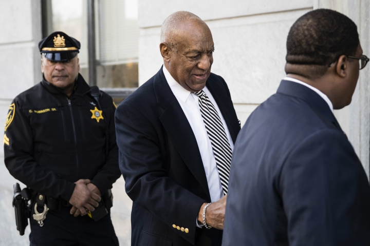 Bill Cosby arrives for a pretrial hearing in his sexual assault case at the Montgomery County Courthouse in Norristown, Pa., Monday, April 3, 2017. (AP Photo/Matt Rourke)