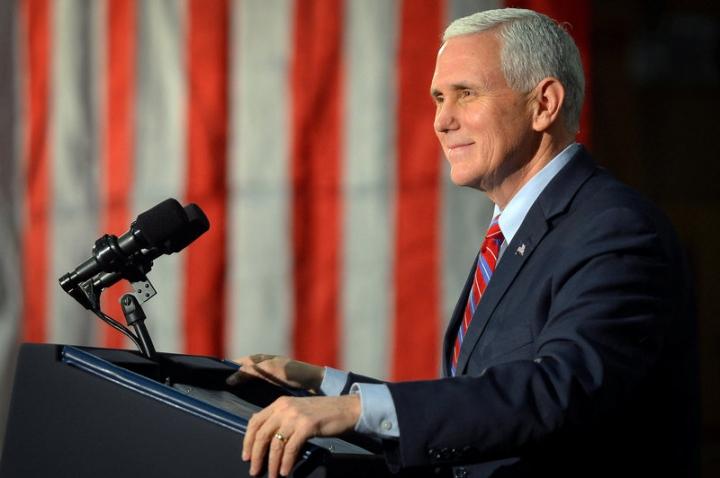 Vice President Mike Pence speaks.  REUTERS/Bryan Woolston