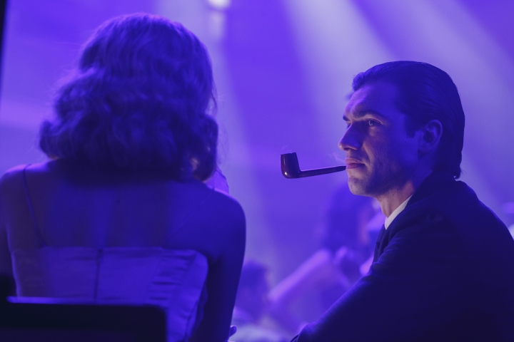 "This image released by Amazon Prime shows Matt Whelan as a young Hugh Hefner in ""American Playboy: The Hugh Hefner Story,"" premiering on Amazon Prime on Friday. (Matt Klitschert/Amazon Prime via AP)"