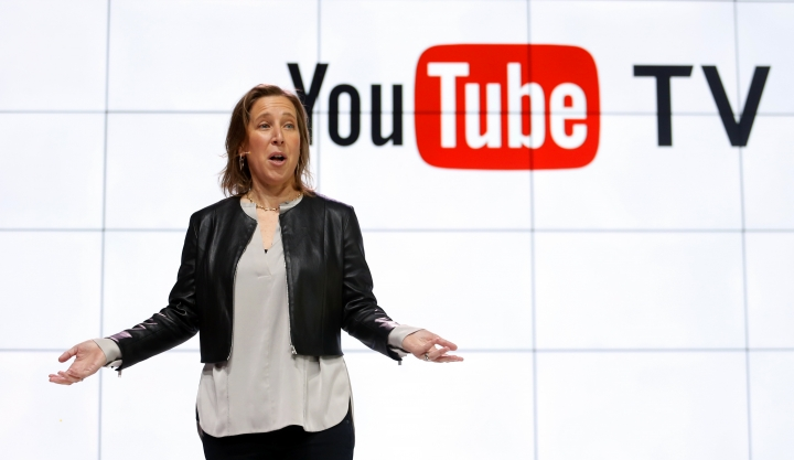 FILE - In this Tuesday, Feb. 28, 2017, file photo, YouTube CEO Susan Wojicki speaks during the introduction of YouTube TV at YouTube Space LA in Los Angeles. Google's online package of about 40 television channels debuts on Wednesday, April 5, 2017, in the tech industry's latest bid to get cable-shunning millennials to pay for television. (AP Photo/Reed Saxon, File)