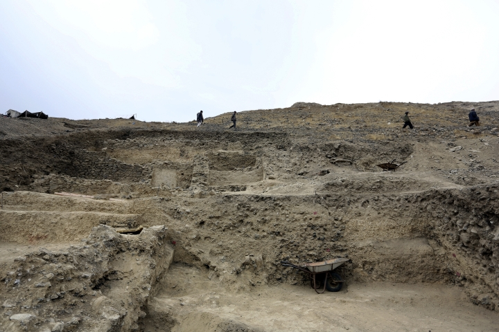 In this Sunday, Jan. 18, 2015, photo, a general view of Mes Aynak valley, some 40 kilometers (25 miles) southwest of Kabul, Afghanistan. The Afghan government is trying to grab President Donald Trump's attention by dangling its massive, untouched wealth of minerals, including lithium, the silvery metal used in mobile phone and computer batteries considered essential to modern life. But tapping into that wealth, which also includes coal, copper, rare earths and far more, is likely a long way off, with security worsening the past year and Trump's policy on the war still not known. (AP Photo/Rahmat Gul)