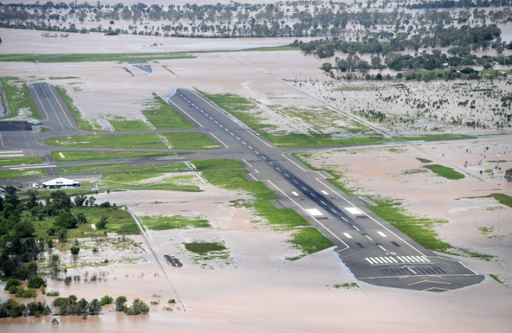 Floodwaters cover the main runway at Rockhampton Airport in Australia, April 6, 2017, in the aftermath of Cyclone Debbie.  AAP/Dan Peled/via REUTERS