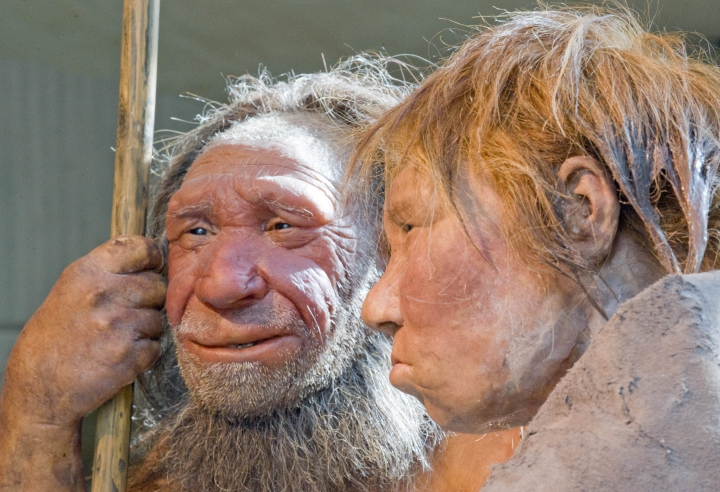 "FILE - This Friday, March 20, 2009 file photo shows reconstructions of a Neanderthal man named ""N"", left, and woman called ""Wilma"", right, at the Neanderthal museum in Mettmann, Germany. Trying to explain cases of ancient cannibalism among our evolutionary forerunners is a vexing scientific challenge. A new study released Thursday, April 6, 2017 in the Journal Scientific Reports suggests that whatever the reasons, they were probably not hunting each other just for food. (AP Photo/Martin Meissner)"
