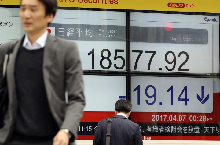 People walk past an electronic stock board showing morning closing transaction value of Japan's Nikkei 225 index at a securities firm in Tokyo, Friday, April 7, 2017. Asian stock indexes sank Friday as the U.S. fired missiles at a Syrian air base during President Donald Trump's first meeting with China's president, leaving investors on edge over the global outlook. (AP Photo/Eugene Hoshiko)