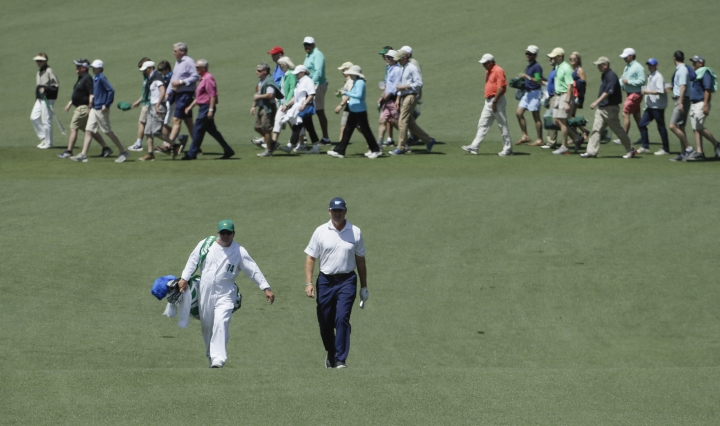 Ernie Els of South Africa, walks to the second green during the third round of the Masters golf tournament Saturday, April 8, 2017, in Augusta, Ga. (AP Photo/David J. Phillip)