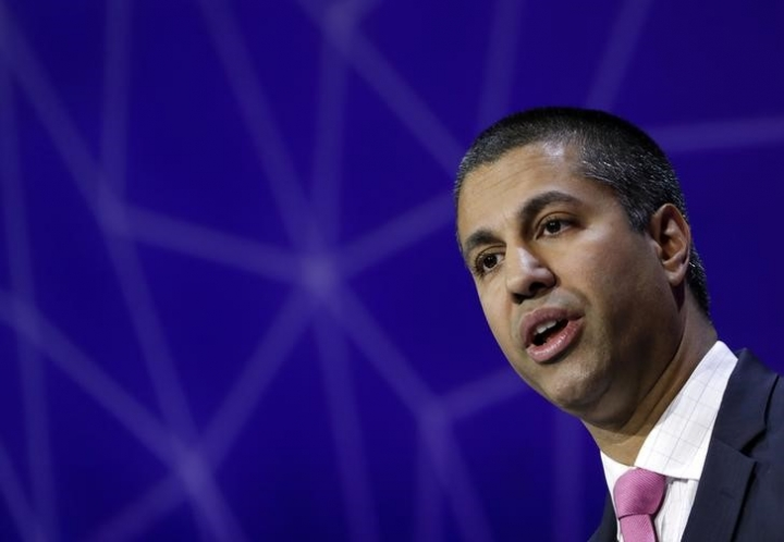 FILE PHOTO: Ajit Pai, Chairman of U.S Federal Communications Commission, delivers his keynote speech at Mobile World Congress in Barcelona, Spain, February 28, 2017. REUTERS/Eric Gaillard