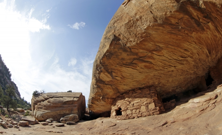"""FILE - This June 22, 2016, file photo, shows the """"House on Fire"""" ruins one of the ancient sites in the Bears Ears region near Blanding, Utah. U.S. Interior Secretary Ryan Zinke is set to start a four-day Utah trip on Sunday, May 7, 2017, to assess whether the designation of 3.2 million acres of national monuments in the state's southern red rock region should be scaled back or rescinded. Zinke will spend Sunday, May 7, 2017, in Salt Lake City before traveling Monday, May 8, 2017, to the southeastern corner of Utah to spend time in the Bears Ears area. (AP Photo/Rick Bowmer, File)"""