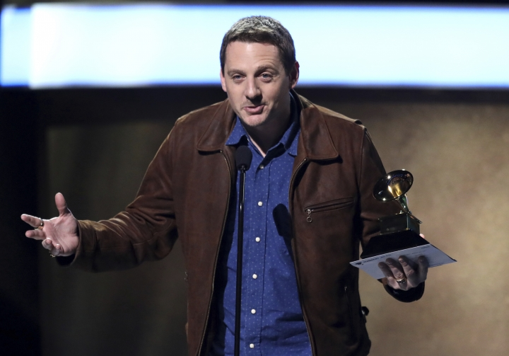 "FILE - In this Feb. 12, 2017 file photo, Sturgill Simpson accepts the award for best country album for ""A Sailor's Guide To Earth"" at the 59th annual Grammy Awards in Los Angeles. Simpson leads the Americana Honors and Awards nominees with three nominations, including album of the year, artist of the year and song of the year. The Americana Music Association announced the nominees on Tuesday, May 9. The awards show will be held on Sept. 13 at the Ryman Auditorium in Nashville, Tenn. (Photo by Matt Sayles/Invision/AP, File)"