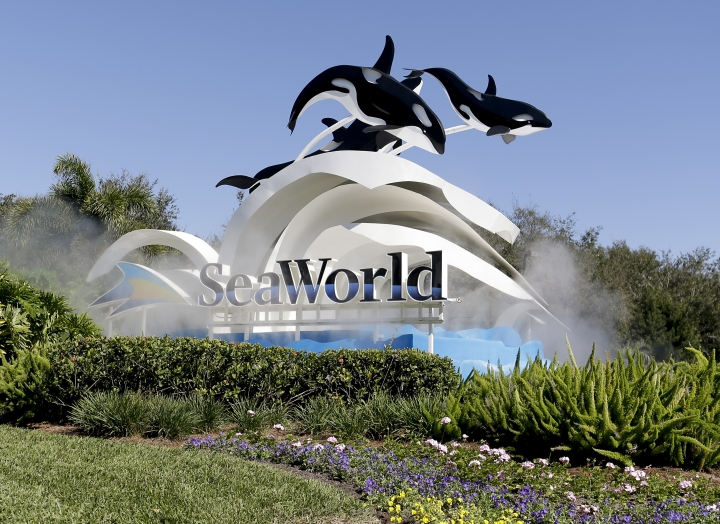 FILE - This Tuesday, Jan. 31, 2017, file photo, shows the entrance to SeaWorld, in Orlando, Fla. SeaWorld Entertainment Inc. reports earnings, Tuesday, May 9, 2017. (AP Photo/John Raoux)