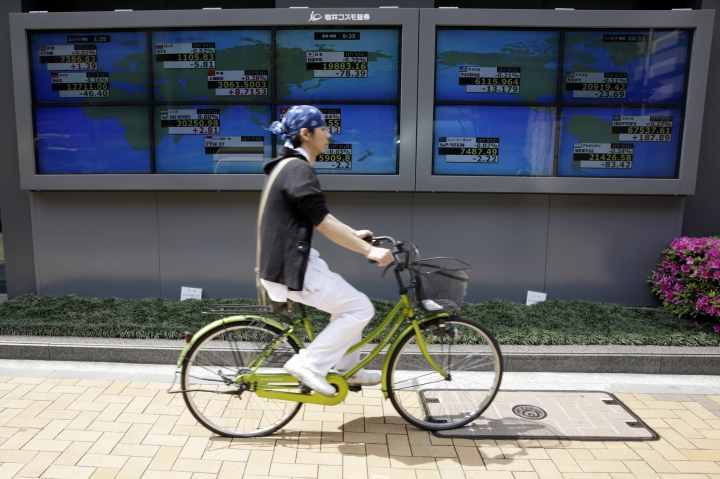 A man rides a bicycle past an electronic stock board showing world stock prices at a securities firm in Tokyo, Friday, May 12, 2017. Asian stock markets were mostly lower Friday as investors remained cautious amid U.S. political uncertainty and poor retailer earnings. (AP Photo/Eugene Hoshiko)