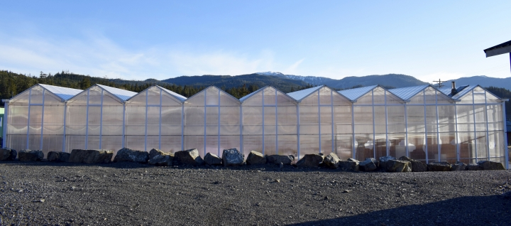This Feb. 19, 2017, photo shows the exterior of the local school's wood-heated aquaponics greenhouse in Coffman Cove, Alaska. The state has released a new guidebook that other Alaska schools and community groups how to build greenhouses heated with a plentiful local resource, wood. (Colter Barnes via AP)