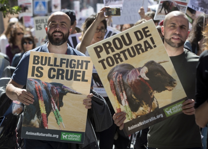 Protesters carry banners during an anti bullfighting demonstration march in Madrid, Spain, Saturday, May 13, 2017. Thousands marched though the center of the city to call for a ban of bullfighting. Banner on right reads 'Stop the torture'. (AP Photo/Paul White)