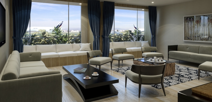 This undated artist rendering provided by The Private Suite at LAX shows a private lounge at a new $22-million facility catering to celebrities and others who want to pay a premium for privacy as they depart from or arrive at Los Angeles International Airport. The facility called the Private Suite opened Monday, May 15, 2017, and offers an exclusive entrance, one-on-one security screening and plush lounges. (The Private Suite at LAX via AP)