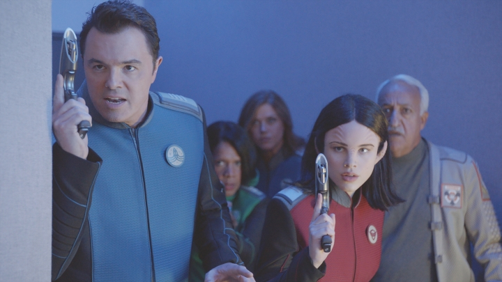 """This image provided by Fox shows Seth MacFarlane, from left, Penny Johnson Jerald, Adrianne Palicki, Halston Sage and guest star Brian George in a scene from """"The Orville"""". Fox said Monday, May 15, 2017, its schedule will include the new space adventure starring and produced by MacFarlane. The series is set 400 years ahead and follows the adventures of an exploratory spaceship. (Fox via AP)"""