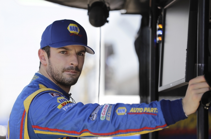 Alexander Rossi watches from his pit box during a practice session for the Indianapolis 500 IndyCar auto race at Indianapolis Motor Speedway, Tuesday, May 16, 2017 in Indianapolis. (AP Photo/Darron Cummings)