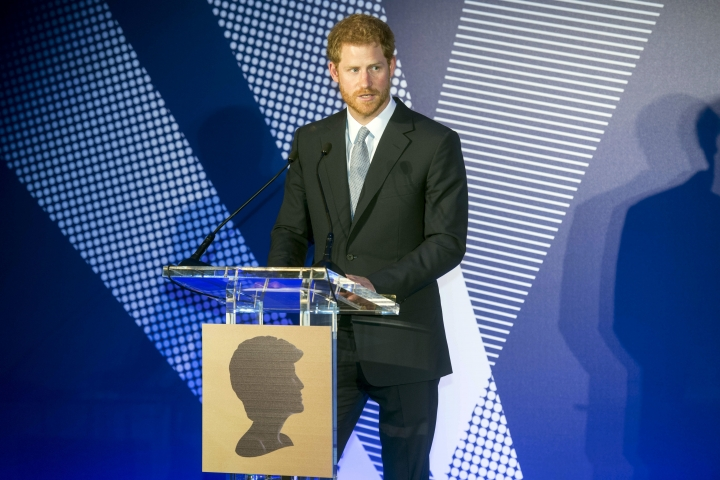 Britain's Prince Harry speaks during a ceremony The Diana Award's inaugural Legacy Award, at St James' Palace in London, Thursday, May 18, 2017. The awards, in honor of Princess Diana, were given to twenty exceptional young people from across the world for their qualities of kindness, compassion and service. (Paul Grover/Pool Photo via AP)