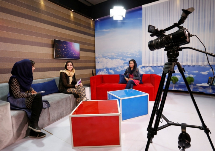 Afghan presenters record their morning programme at the Zan TV station (women's TV) in Kabul, Afghanistan May 8, 2017.  REUTERS/Mohammad Ismail