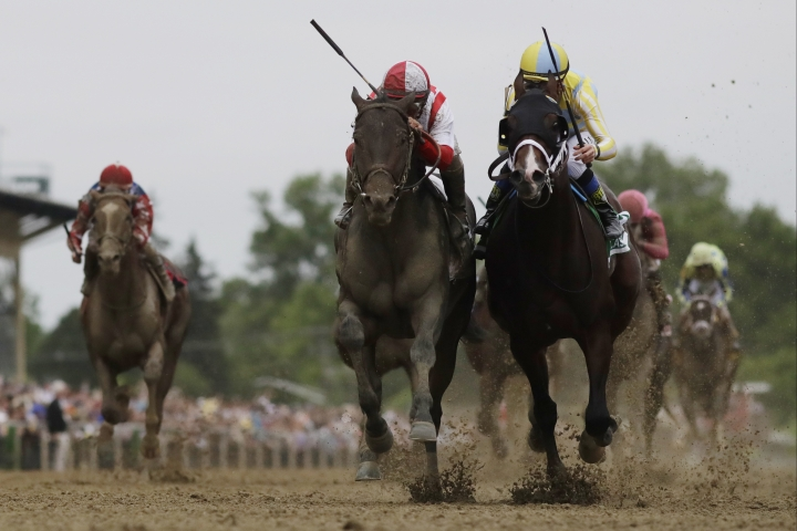 Cloud Computing, second from left, ridden by Javier Castellano, wins the 142nd Preakness Stakes horse race ahead of Classic Empire, ridden by Julien Leparoux, Saturday, May 20, 2017, at Pimlico Race Course in Baltimore. (AP Photo/Mike Stewart)