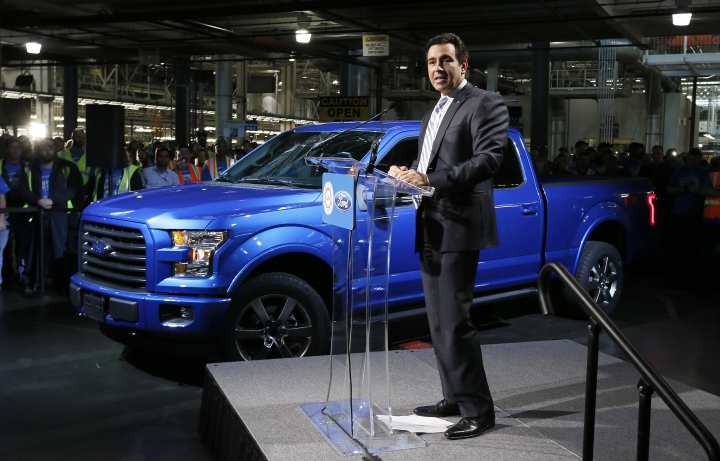 FILE - In this Nov. 11, 2014 file photo, Mark Fields, Ford Motor Company President and CEO, speaks at a news conference for the production of the 2015 F-150 at the Dearborn Truck Plant in Dearborn, Mich. Ford is replacing its CEO amid questions about its current performance and future strategy, a person familiar with the situation has said. Fields will be replaced by Jim Hackett, who joined Ford's board in 2013. (AP Photo/Paul Sancya)