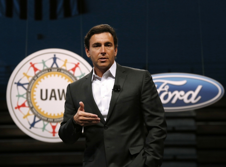 FILE - In this July 23, 2015, file photo, Ford Motor Company President and CEO Mark Fields speaks during a ceremony to mark the opening of contract negotiations with the United Auto Workers in Detroit. Ford is replacing its CEO amid questions about its current performance and future strategy, a person familiar with the situation has said. Fields will be replaced by Jim Hackett, who joined Ford's board in 2013. (AP Photo/Paul Sancya, File)