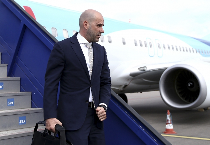 Ajax manager Peter Bosz arrives at the airport in Stockholm, Sweden, Tuesday, May 23, 2017, on the day before the soccer Europa League final between Ajax Amsterdam and Manchester United. (Jan Kruger/pool photo via AP)