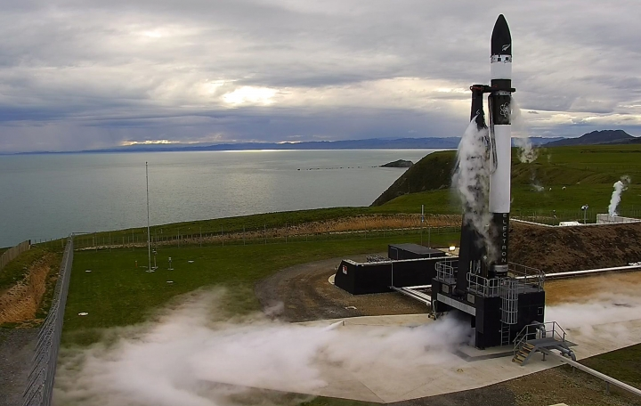 This photo supplied by Rocket Lab, shows the Electron rocket about to launch from the Mahia Peninsula in the North Island of New Zealand, Thursday, May 25, 2017. California-based company Rocket Lab said Thursday it had launched a test rocket into space from its New Zealand launch pad, although the rocket didn't reach orbit as hoped. (Rocket Lab via AP)