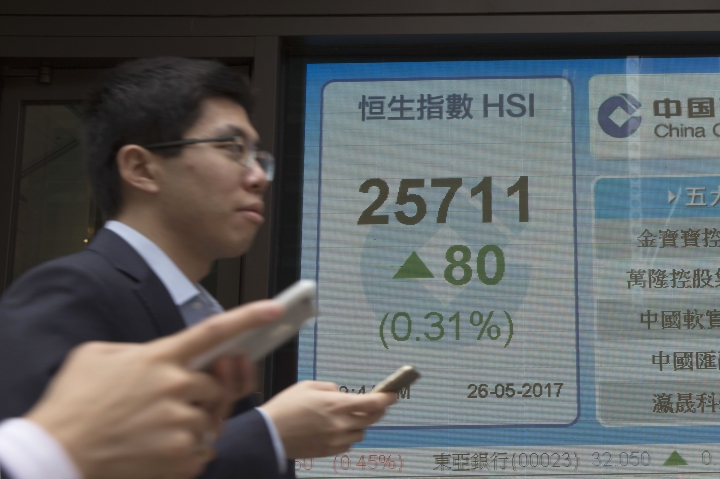People walk by an electronic stock board showing the Hang Seng Index at a bank, in Hong Kong, Friday, May 26, 2017. Asian stock markets are mixed Friday as investors weighed Wall Street's latest gains on strong earnings reports against the latest oil production cut that dragged down crude prices and commodity shares.(AP Photo/Kin Cheung)