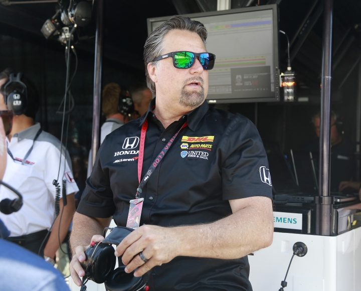 Michael Andretti watches during the final practice session for the Indianapolis 500 IndyCar auto race at Indianapolis Motor Speedway, Friday, May 26, 2017 in Indianapolis. (AP Photo/R Brent Smith)