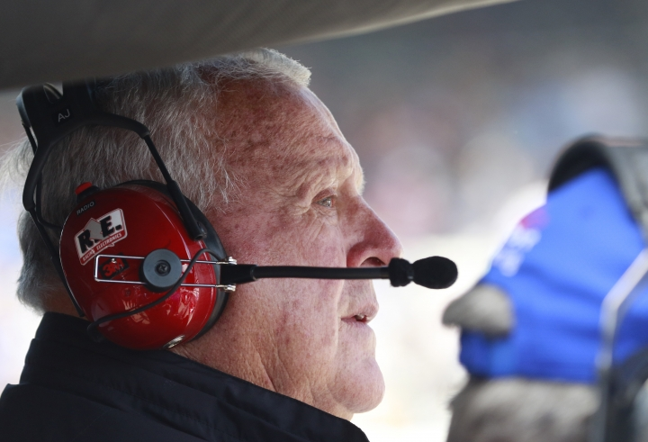 CORRECTS THE DAY AND DATE - A.J. Foyt watches during the final practice session for the Indianapolis 500 IndyCar auto race at Indianapolis Motor Speedway, Friday, May 26, 2017 in Indianapolis. (AP Photo/R Brent Smith)