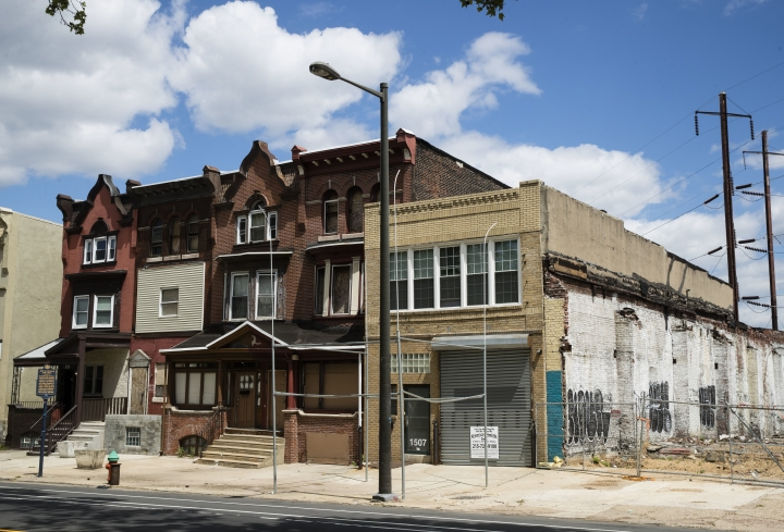 "This May 8, 2017 photo shows the former home, third from left, of jazz musician John Coltrane in Philadelphia. Philadelphia has a rich musical legacy: It's birthplace of the lush acoustic style known as The Sound of Philadelphia and the hometown of ""American Bandstand"" and Chubby Checker's ""Twist."" But there's no major museum or other place of pilgrimage for music fans that encompasses the city's music history. (AP Photo/Matt Rourke)"