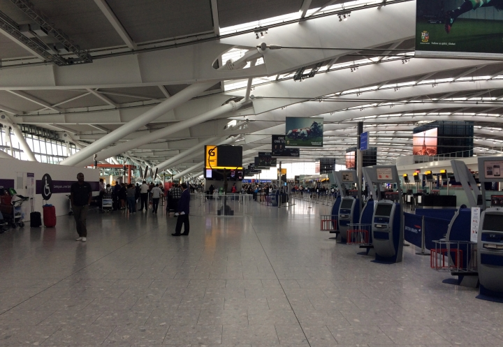 A view of Terminal 5 check in desks, at London's Heathrow airport after flights were canceled due to the airport suffering an IT systems failure, Saturday, May 27, 2017. British Airways canceled all flights from London's Heathrow and Gatwick airports on Saturday as a global IT failure upended the travel plans of tens of thousands of people on a busy U.K. holiday weekend. (AP Photo /Jo Kearney)