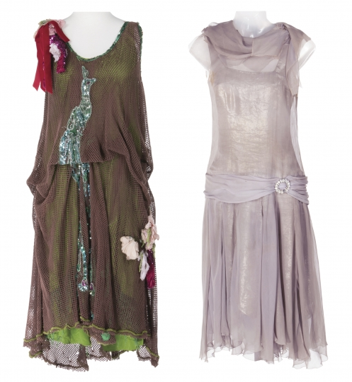 """This combination photo of two images released by Profiles in History show a costume worn by Debbie Reynolds from the iconic """"Belly Up to the Bar, Boys"""" musical number in the film, """"The Unsinkable Molly Brown,"""" left, and a lavender silk chiffon dress Reynolds wore from the """"You Were Meant For Me"""" musical sequence in """"Singin' in the Rain."""" These costumes are among many items belonging to Reynolds and her daughter Carrie Fisher that will be up for auction beginning September 23. (Profiles in History via AP)"""