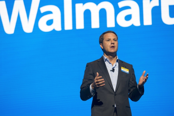 Walmart CEO Doug McMillon speaks during the Walmart shareholders meeting Friday, June 2, 2017, at Bud Walton Arena in Fayetteville, Ark. (Jason Ivester/The Northwest Arkansas Democrat-Gazette via AP)
