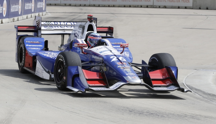 Takuma Sato, of Japan, drives during a practice session, Friday, June 2, 2017, for the IndyCar Detroit Grand Prix auto racing doubleheader on Belle Isle in Detroit this weekend. (AP Photo/Carlos Osorio)