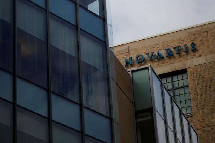 A sign marks a building on Novartis' campus in Cambridge, Massachusetts, U.S., February 28, 2017.  REUTERS/Brian Snyder