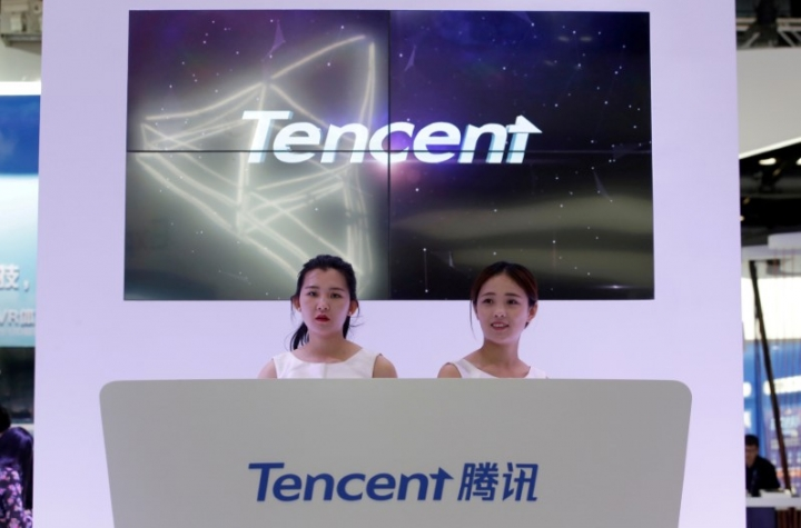 FILE PHOTO: Tencent's booth is pictured at the Global Mobile Internet Conference (GMIC) 2017 in Beijing, China April 28, 2017. REUTERS/Jason Lee/File Photo